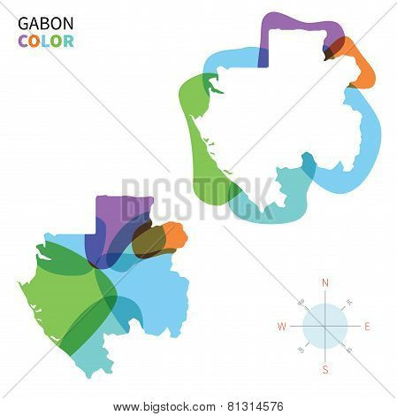 Abstract vector color map of Gabon with transparent paint effect.