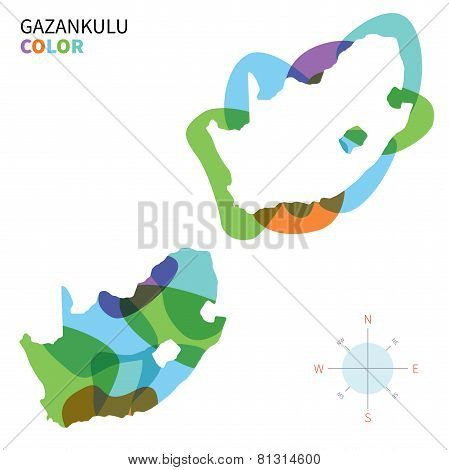 Abstract vector color map of Gazankulu with transparent paint effect.