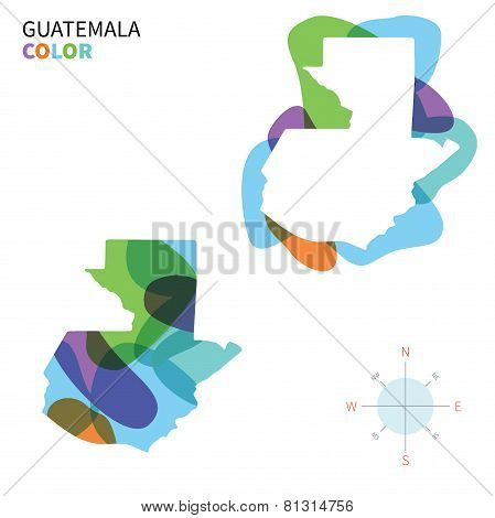 Abstract vector color map of Guatemala with transparent paint effect.