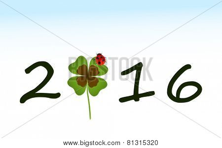 2016 greeting card with shamrock leaf and ladybird