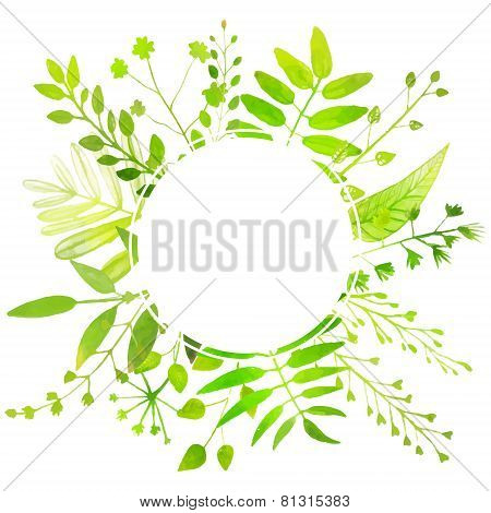 Spring frame with bright green leaves