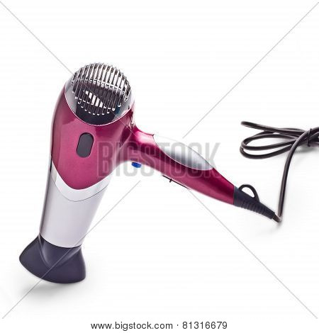 purple hair dryer is isolated on white background