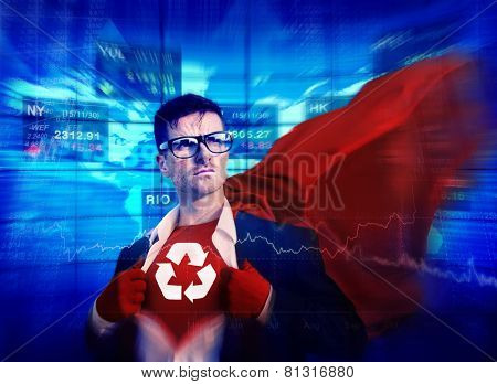 Recycle Strong Superhero Success Professional Empowerment Stock Concept