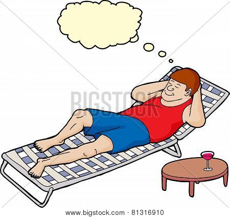 Dreaming Man On Deck Chair