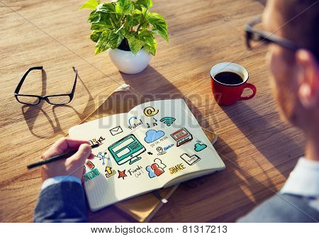 Working Notepad Global Comunications Social Media Concept