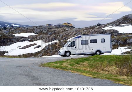 Caravan Van On High-mountainous Road Of Norway
