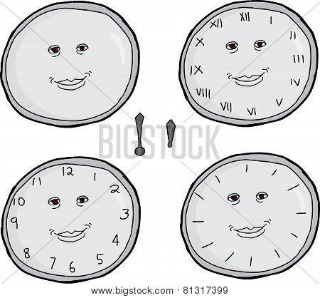 Smiling Clock Faces Set