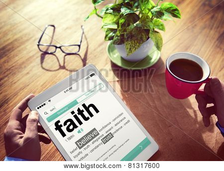 Man Reading the Definition of Faith