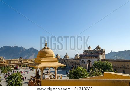 Jaipur, India - December29, 2014: Tourist Visit Amber Fort Near Jaipur, Rajasthan, India