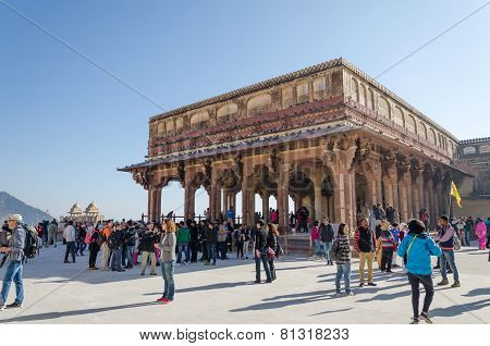 Jaipur, India - December29, 2014: Tourist Visit Diwan-i-am In Amber Fort Near Jaipur