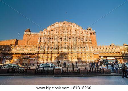Jaipur, India - December29, 2014: Unidentified Tourists Visit Hawa Mahal