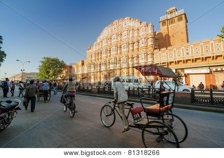 Jaipur, India - December29, 2014: Unidentified Indian Men In Front Of Hawa Mahal