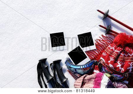 Ski Background With Blank Photo Prints