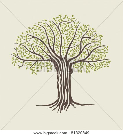 Tree vector illustration. Stylized abstract tree icon