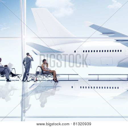 Airport Travel Business People Trip Transportation Waiting Concept