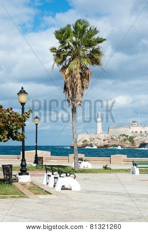 The castle of El Morro in Havana with a beautiful park with tropical palm trees on the foreground