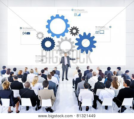 Business People Meeting Leader Speaker Biz Infographic Concept
