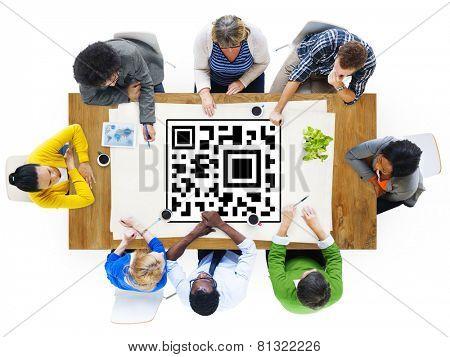 QR Code Marketing Data Identity Concept