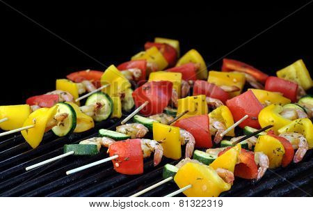Marinated shrimp, zucchini, and bell pepper kebabs