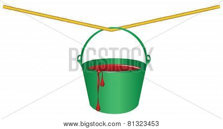 Green Bucket With Red Paint