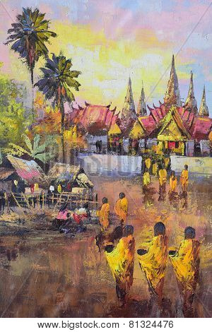 Original Oil Painting On Canvas - Culture Thai Monk Ask For Alms