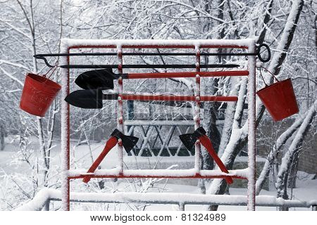fire equipment on the background of snow