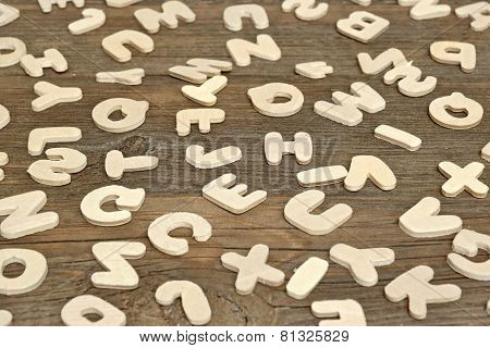 Many English Wooden Letters