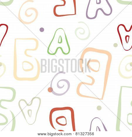 Abstract color letters seamless pattern.
