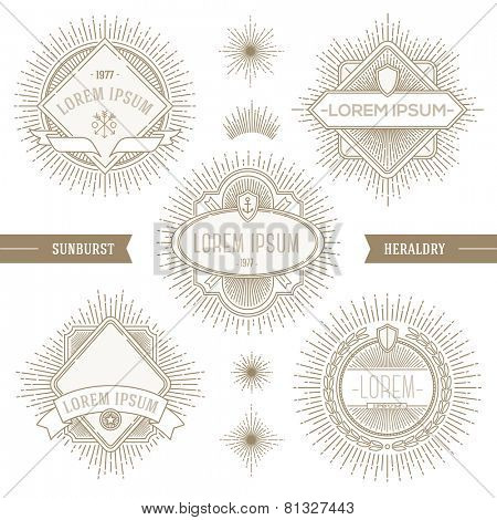 Vector set of line heraldic emblems and  labels with sunburst rays