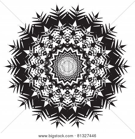 Complicated Single Round Pattern Design In Black And White