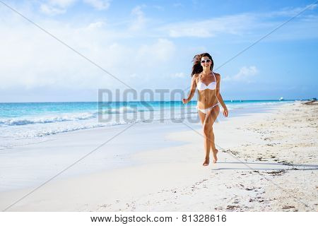 Woman On Tropical Caribbean Vacation Having Fun