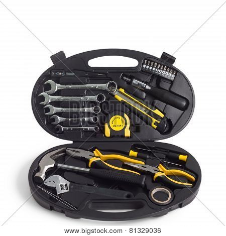 set of tools in the box isolated