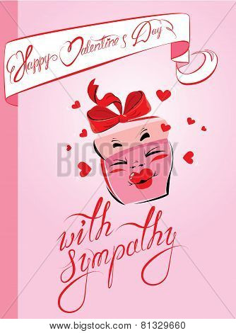 Holiday Card With Pretty Pink Gift Box Cartoon And Handwritten Texts - Happy Valentines Day, With Si