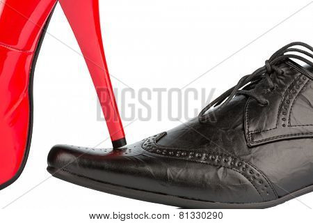 women's shoes on men's shoe, symbolic photo for separation, divorce and conflict