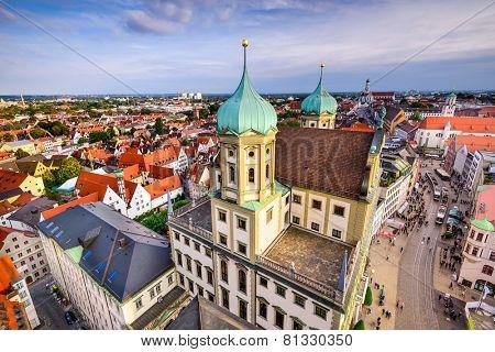 Augsuburg, Germany city skyline.