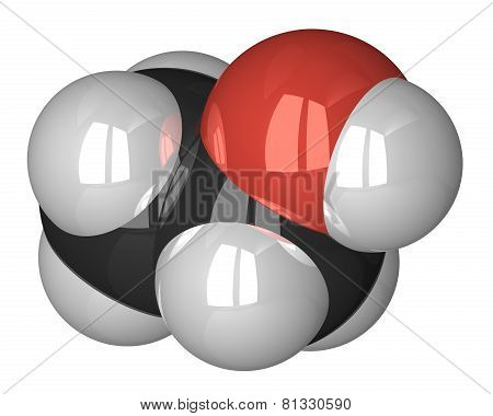 Ethanol Molecule Isolated On White