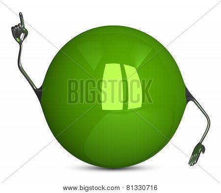 Green Sphere Character In Moment Of Insight