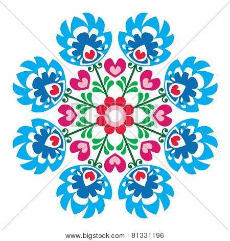 Polish round folk art pattern