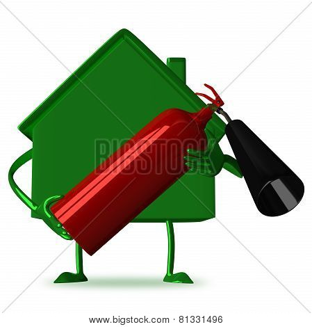 green Cottage With Fire Extinguisher
