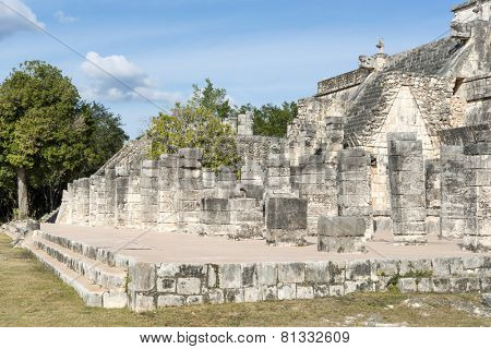 A view of part of the archaeological complex Chichen Itza, one of the most visited sites in Mexico. It is one of new 7 wonders in the world.