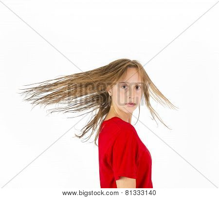 Teenage Girl With Brown Hair In Motion