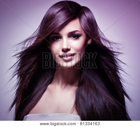 Fashion model with long straight hair. Fashion model posing at studio. Concept image is in tinting colorize style