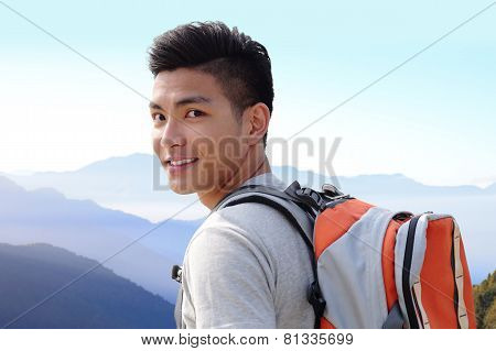 Successful Man Mountain Hiker