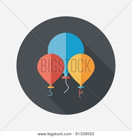 Birthday Ballon Flat Icon With Long Shadow,eps10
