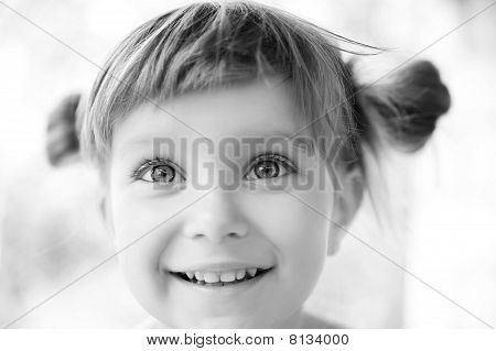 Close-up Portrait Of A Girl Black-and-white