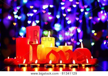 Burning candles for Valentine Day, weddings,events involving love.