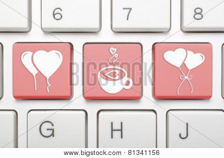 Abstract Valentine symbol on keyboard