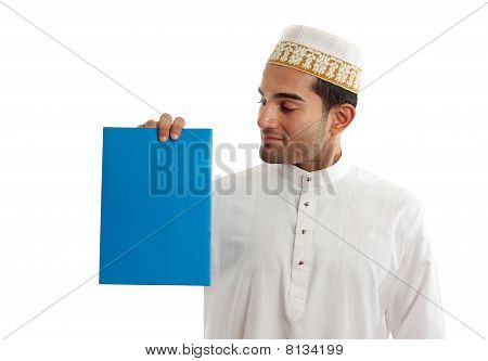 Ethnic Businessman Holding Brochure