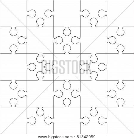 25 Jigsaw puzzle blank template or cutting guidelines