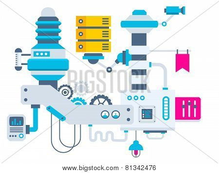 Industrial Illustration Background Of The Factory For Measurement Of The Parameters Server.